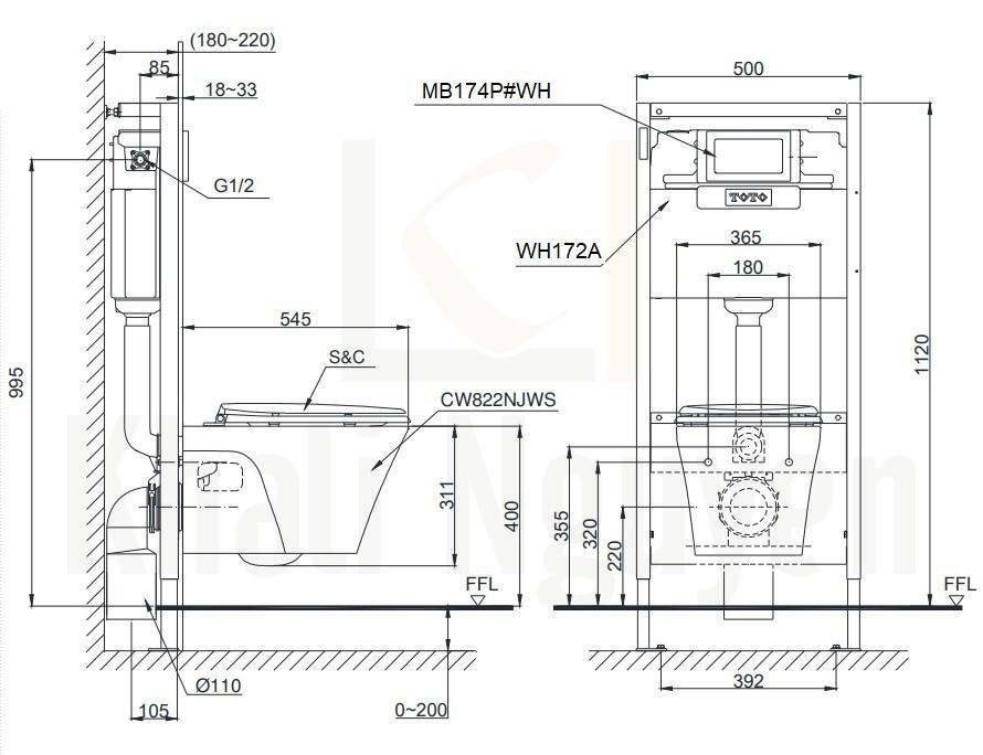 Bản Vẽ Bồn Cầu TOTO CW822NJWS/MB174P/WH172A Treo Tường