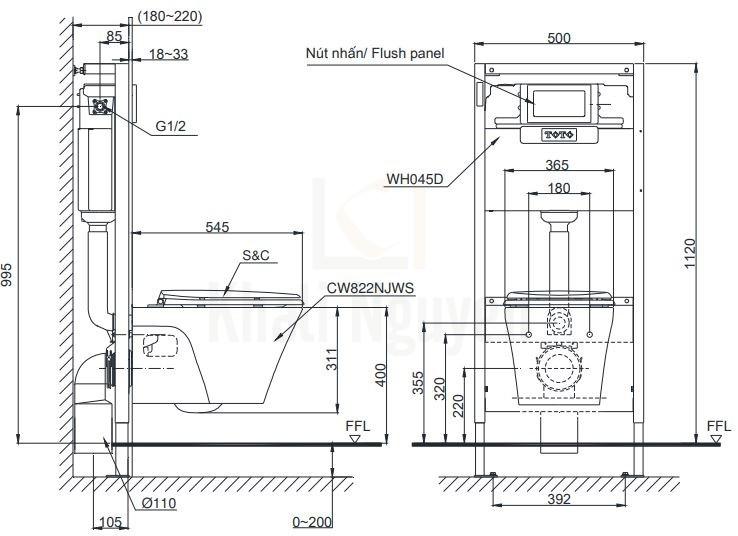 Bản Vẽ Bồn Cầu TOTO CW822RA/TC385VS Treo Tường