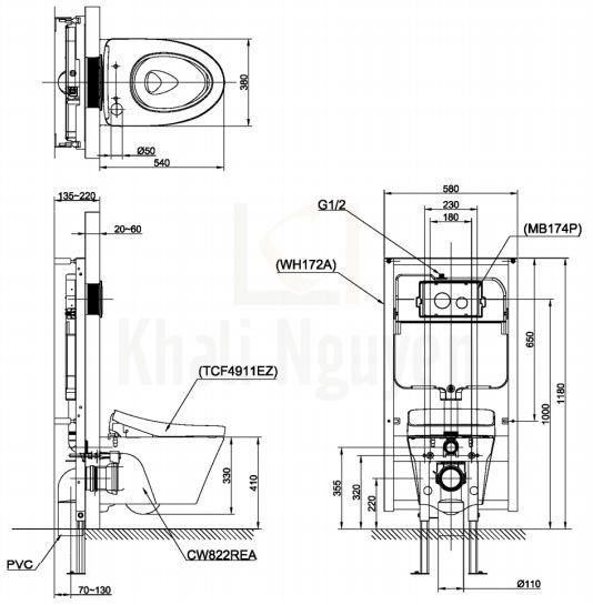 Bản Vẽ Bồn Cầu TOTO CW822REA/TCF4911EZ/WH172AT/TCA465 Nắp Điện Tử WASHLET