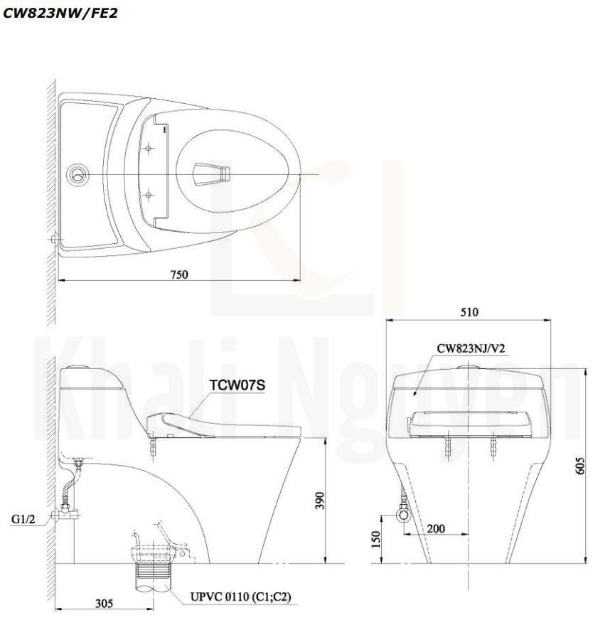 Bản Vẽ Bàn Cầu Một Khối TOTO CW823NW/FE2 Nắp Cơ TCW07S