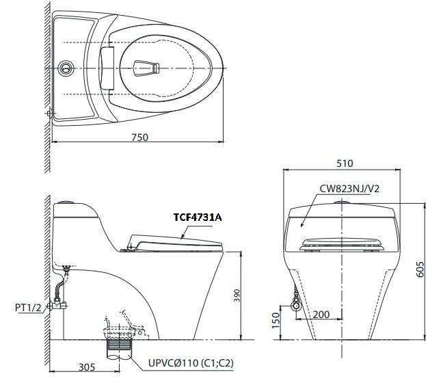 Bản Vẽ Bồn Cầu Điện Tử TOTO CW823NW/FW4 Nắp Tự Động Đóng Mở