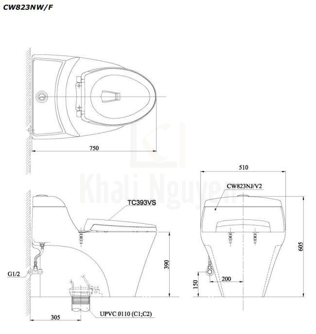 Bản Vẽ Bồn Cầu TOTO CW823NW/F Một Khối Nắp TC393VS