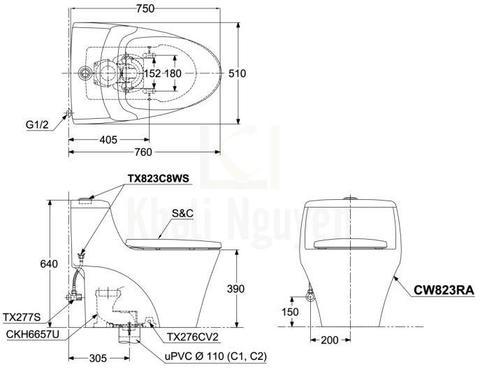 Bản Vẽ Bồn Cầu TOTO CW823RAT3 Một Khối Nắp TC385VS