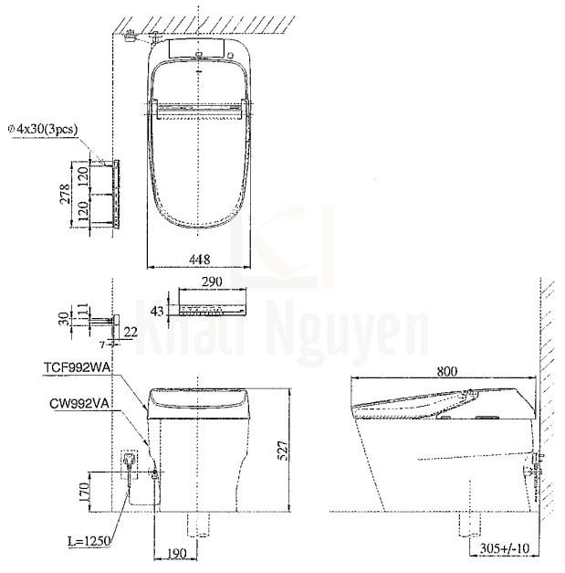 Bản Vẽ Bồn Cầu Thông Minh TOTO CW992VA/TCF992WA