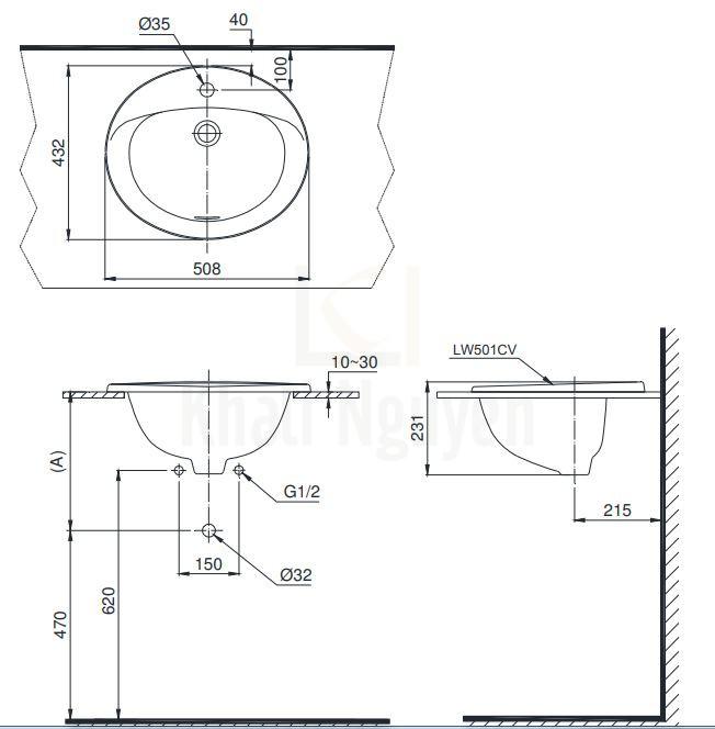 Bản Vẽ Chậu Rửa Lavabo TOTO L501C Dương Vành