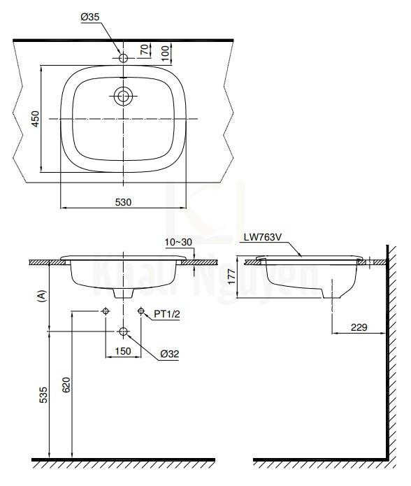 Bản Vẽ Chậu Rửa Mặt Lavabo TOTO L763 Dương Vành