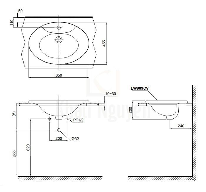 Bản Vẽ Chậu Rửa Lavabo TOTO L909C Dương Vành