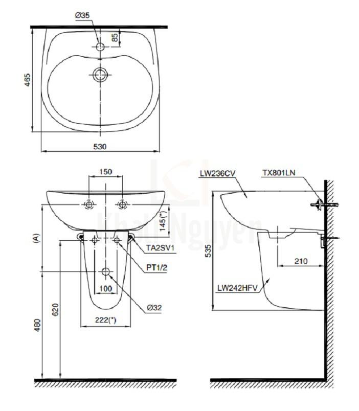 Bản Vẽ Lavabo TOTO LHT236CS Treo Tường Chân Ngắn