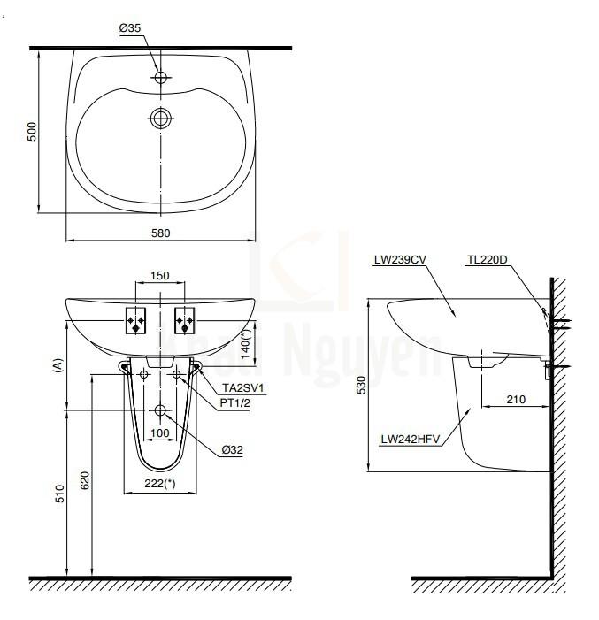 Bản Vẽ Lavabo TOTO LHT239CR Treo Tường Chân Ngắn