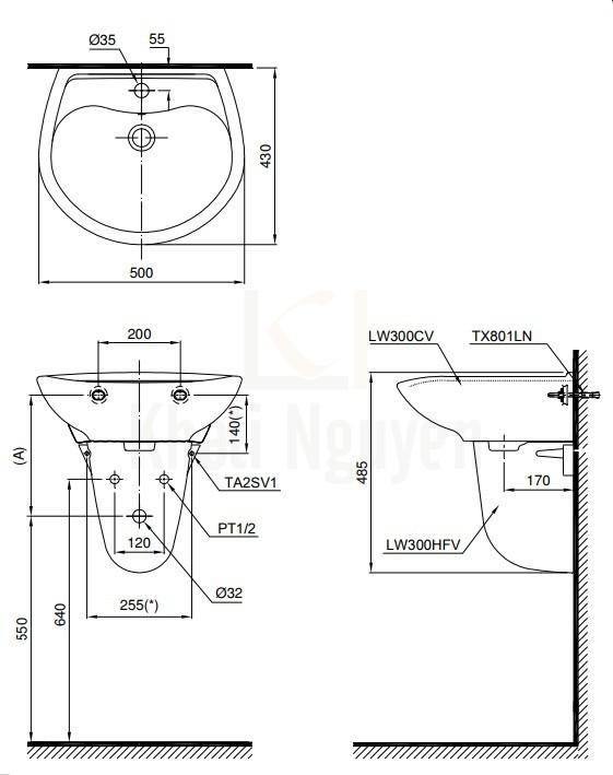 Bản Vẽ Chậu Lavabo TOTO LHT300CR Treo Tường Chân Ngắn