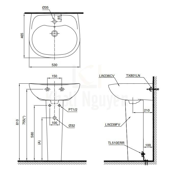 Bản Vẽ Chậu Lavabo TOTO LPT236CS Treo Tường Chân Dài