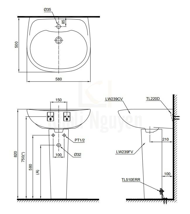 Bản Vẽ Chậu Lavabo TOTO LPT239CR Treo Tường Chân Dài