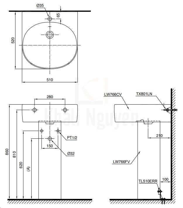 Bản Vẽ Chậu Lavabo TOTO LPT766C Treo Tường Chân Dài