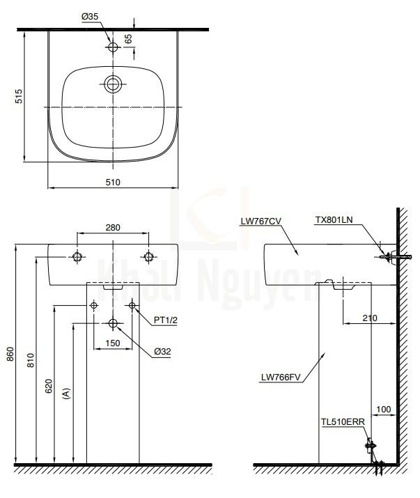 Bản Vẽ Chậu Lavabo TOTO LPT767C Treo Tường Chân Dài