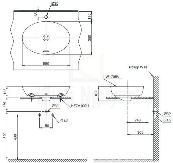 Bản Vẽ Chậu Rửa Lavabo TOTO LT1705 Đặt Bàn