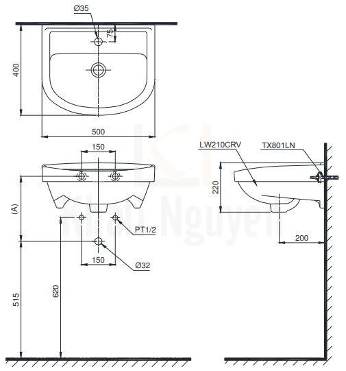 Bản Vẽ Chậu Rửa Lavabo TOTO LT210CTR Treo Tường