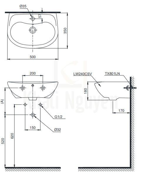 Bản Vẽ Chậu Rửa Lavabo TOTO LT240CS Treo Tường