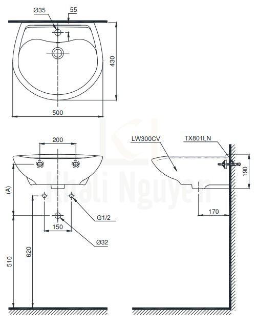 Bản Vẽ Chậu Rửa Lavabo TOTO LT300C Treo Tường