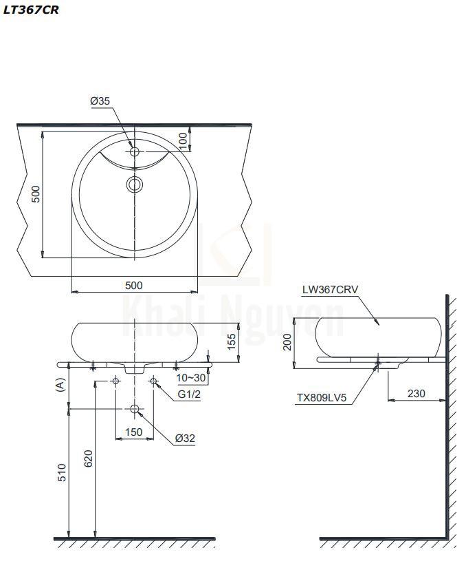 Bản Vẽ Chậu Lavabo TOTO LT367CR Đặt Bàn