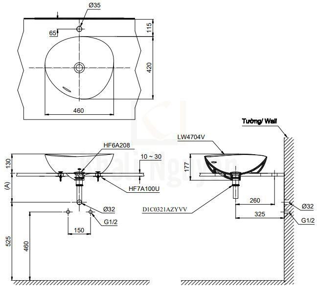 Bản Vẽ Chậu Rửa Lavabo TOTO LT4704MTG19 Đặt Bàn