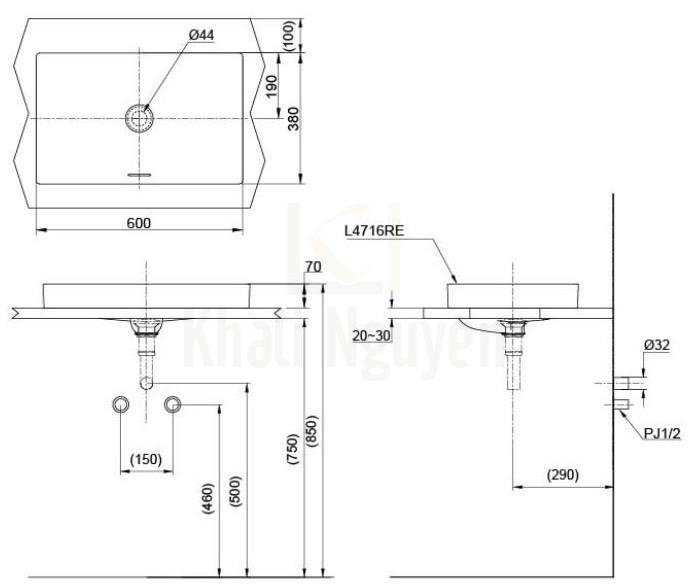 Bản Vẽ Chậu Rửa Lavabo TOTO LT4716MTG17 Đặt Bàn