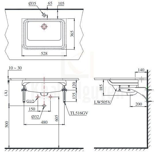 Bản Vẽ Chậu Rửa Lavabo TOTO LT505T Âm Bàn