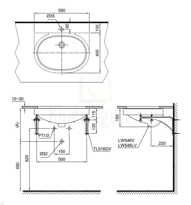 Bản Vẽ Chậu Lavabo TOTO LT546 Âm Bàn Oval