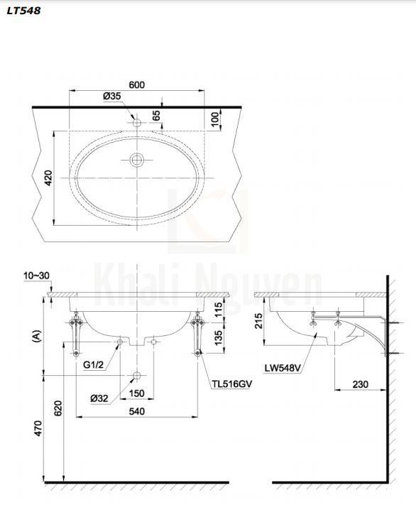Bản Vẽ Chậu Lavabo TOTO LT548 Âm Bàn