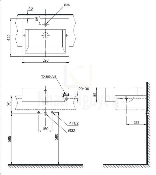 Bản Vẽ Chậu Rửa Lavabo TOTO LT647CR Bán Âm Bàn