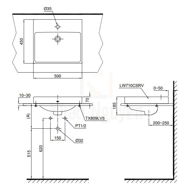 Bản Vẽ Chậu Rửa Lavabo TOTO LT710CSR Đặt Bàn