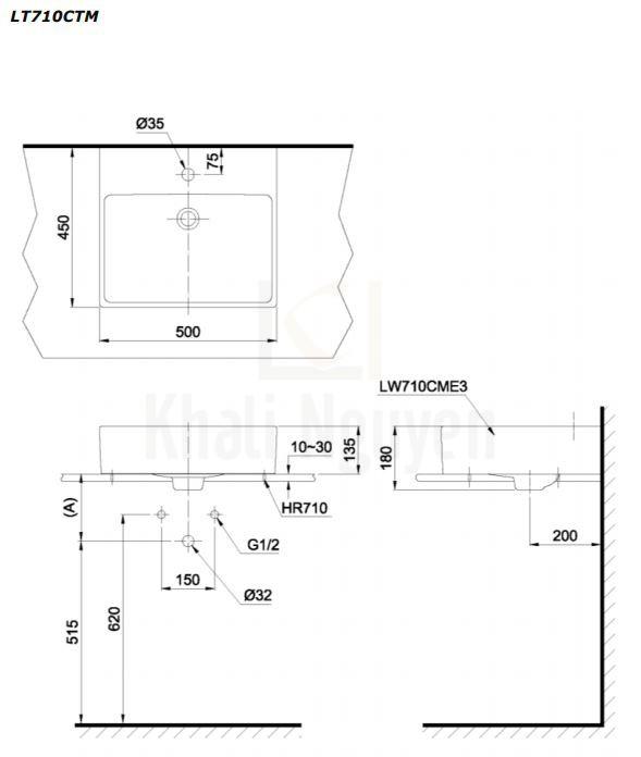 Bản Vẽ Chậu Rửa Lavabo TOTO LT710CTM Đặt Bàn