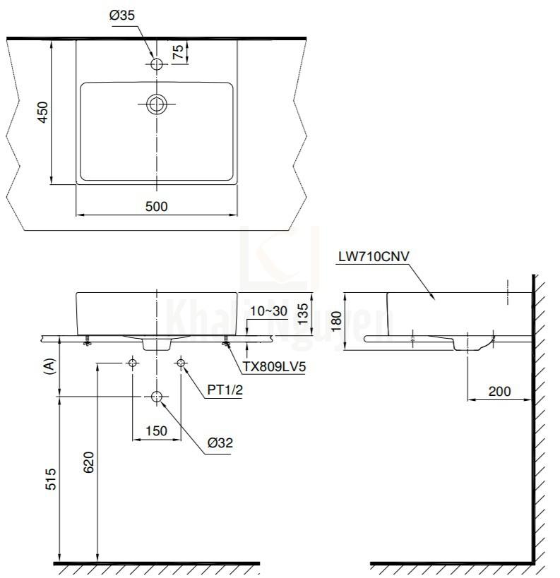 Bản Vẽ Chậu Lavabo TOTO LT710CTR Đặt Bàn