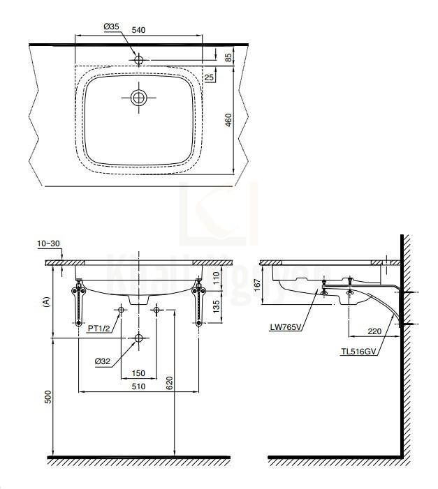 Bản Vẽ Chậu Lavabo TOTO LT765 Âm Bàn