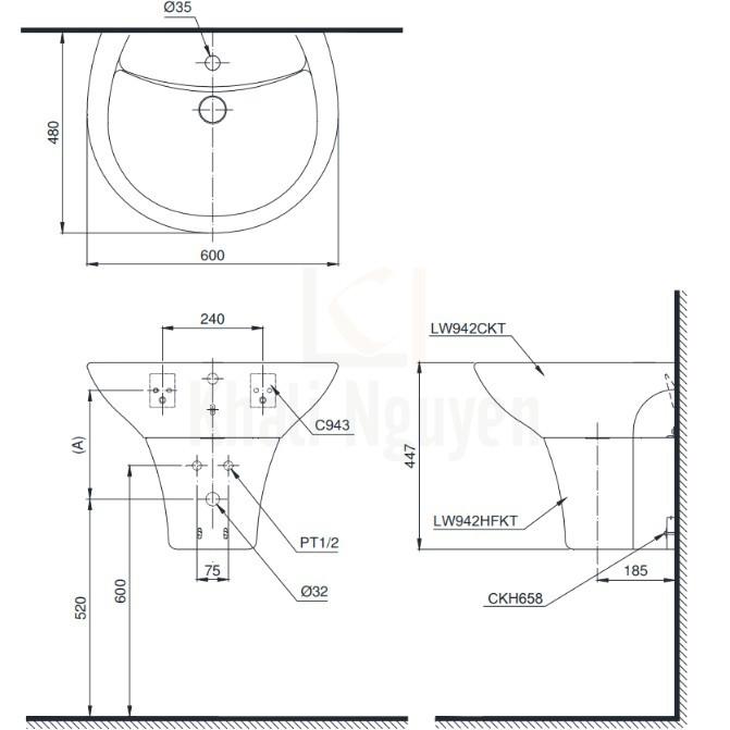 Bản Vẽ Lavabo TOTO LT942CK/PT942HFK Treo Tường Chân Ngắn