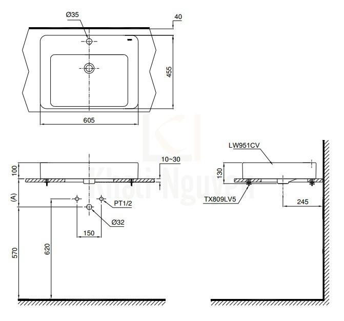 Bản Vẽ Chậu Rửa Lavabo TOTO LT951C Đặt Bàn