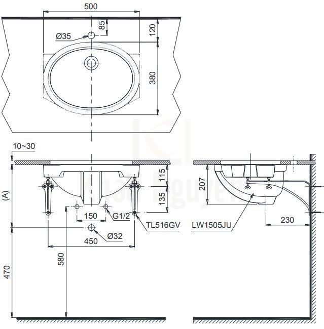 Bản Vẽ Chậu Rửa Lavabo TOTO LW1505V Âm Bàn Oval