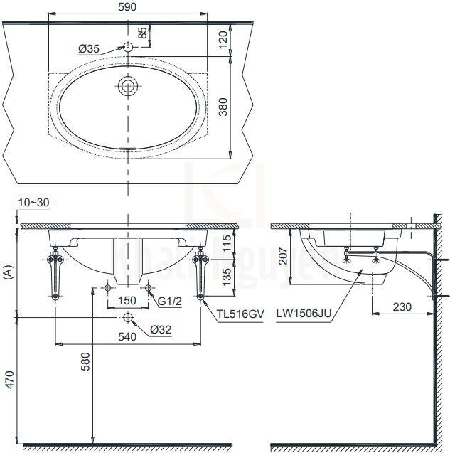 Bản Vẽ Chậu Rửa Lavabo TOTO LW1506V Âm Bàn Oval