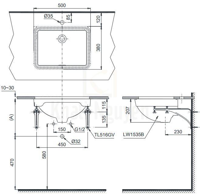 Bản Vẽ Chậu Rửa Lavabo TOTO LW1535V Âm Bàn