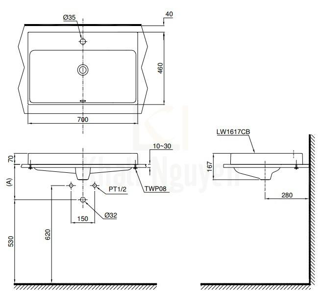 Bản Vẽ Chậu Rửa Lavabo TOTO L1617C Đặt Bàn
