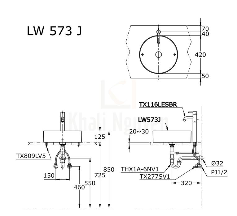 Bản Vẽ Chậu Rửa Lavabo TOTO LW573JW/F Đặt Bàn