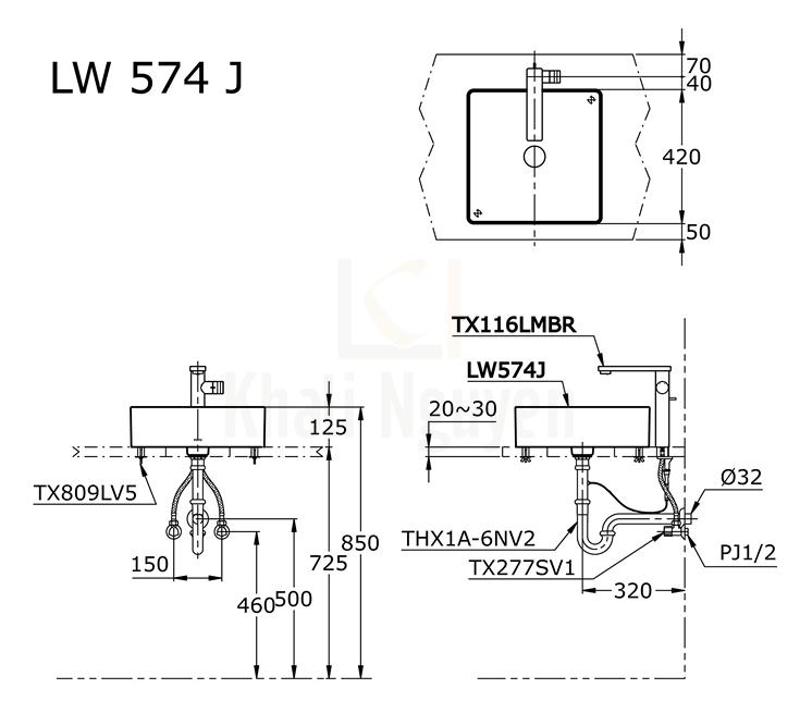 Bản Vẽ Chậu Rửa Lavabo TOTO LW574JW/F Đặt Bàn