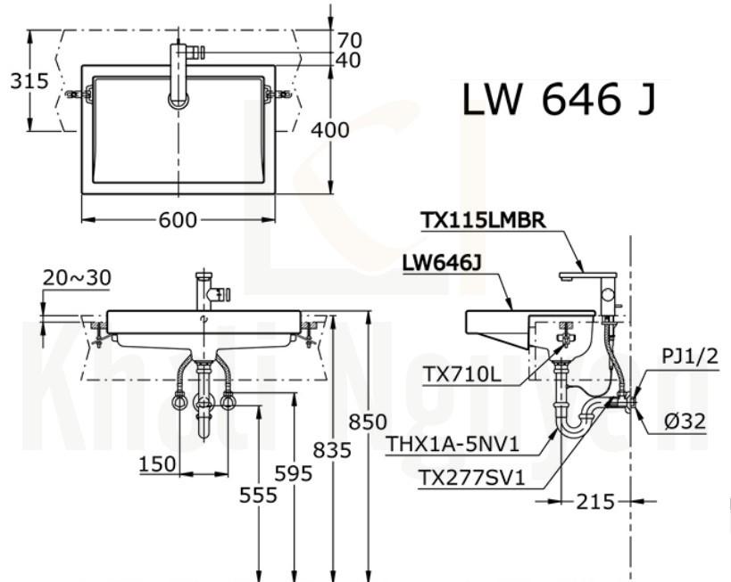Bản Vẽ Chậu Rửa Lavabo TOTO LW646JW/F Bán Âm Bàn
