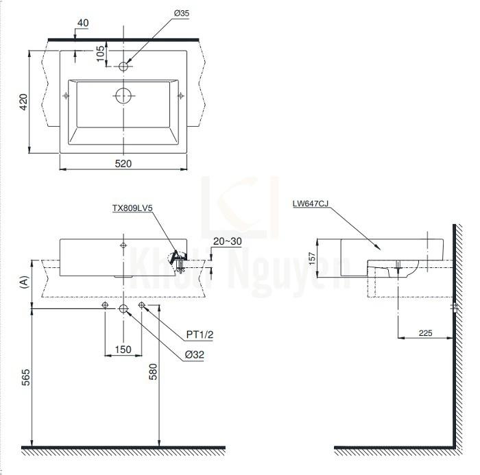 Bản Vẽ Chậu Rửa Mặt Lavabo TOTO LW647CJW/F Bán Âm Bàn