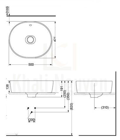 Bản Vẽ Chậu Rửa Mặt Lavabo TOTO LW760LB Đặt Bàn