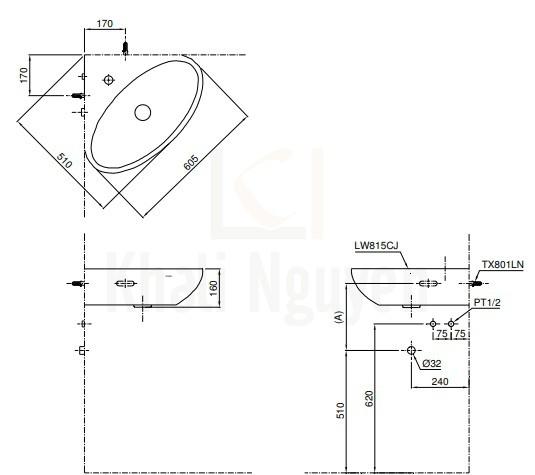Bản Vẽ Chậu Lavabo TOTO LW815CJW/F Góc Treo Tường