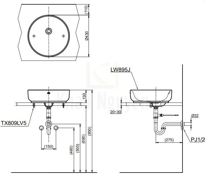 Bản Vẽ Chậu Rửa Mặt Lavabo TOTO LW895JW/F Đặt Bàn