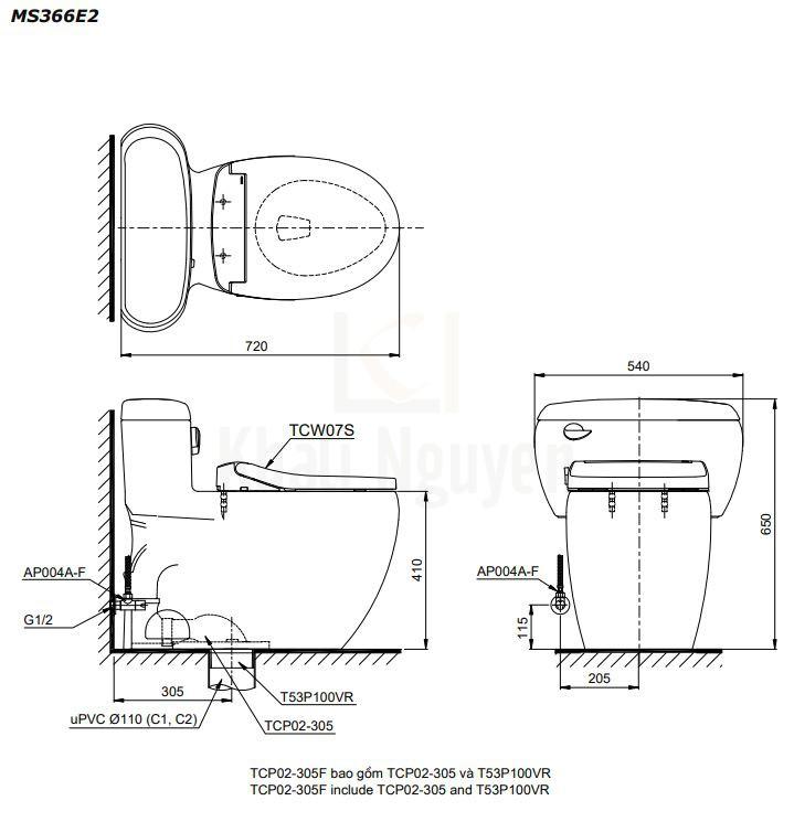Bản Vẽ Bàn Cầu TOTO MS366E2 Một Khối Nắp Cơ