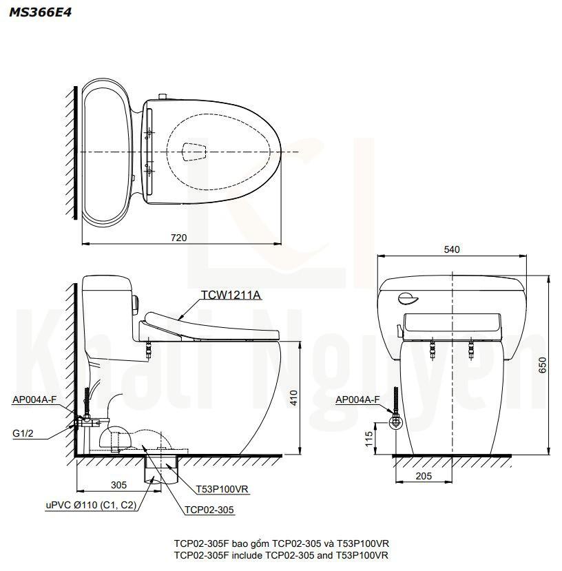 Bản Vẽ Bàn Cầu TOTO MS366E4 Một Khối Nắp Cơ