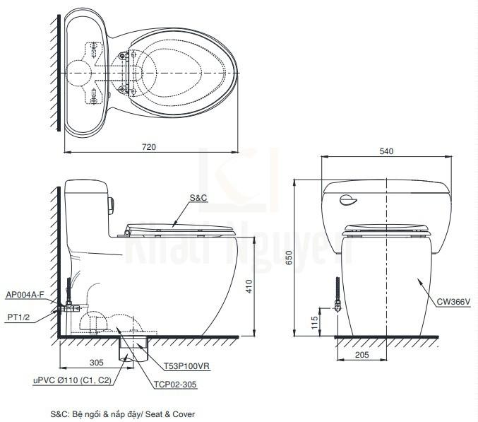 Bản Vẽ Bàn Cầu Điện Tử TOTO MS366W11 Nắp Tự Động Mở