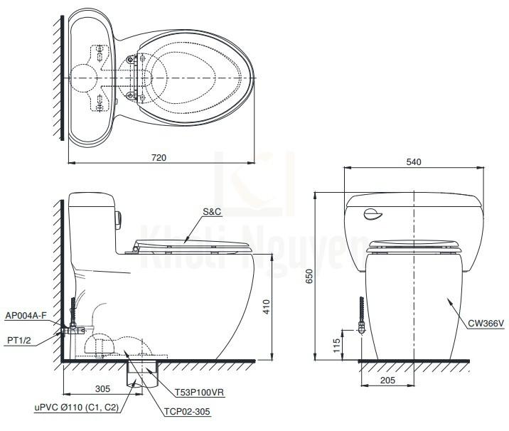 Bản Vẽ Bồn Cầu Điện Tử TOTO MS366W6 Nắp Rửa Washlet